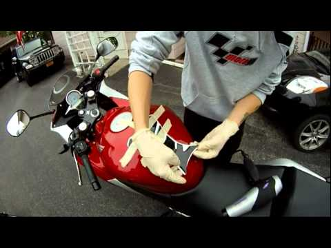 How to install a tank pad on a motorcycle