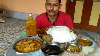 Eating Big Rice with Special Pointed Gourd - Mustard & Mango Sauce ( Kasundi ) - Eating Show