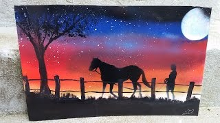 HOW TO SPRAYPAINT HORSE SUNSET PAINTING