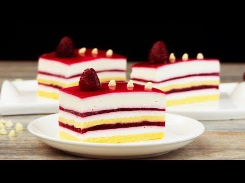 Самый легкий и очень вкусный десерт - пирожное с муссом из белого шоколада и малиной!   Appetitno.TV