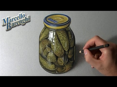A glass jar of Pickles - Gherkins realistic drawing