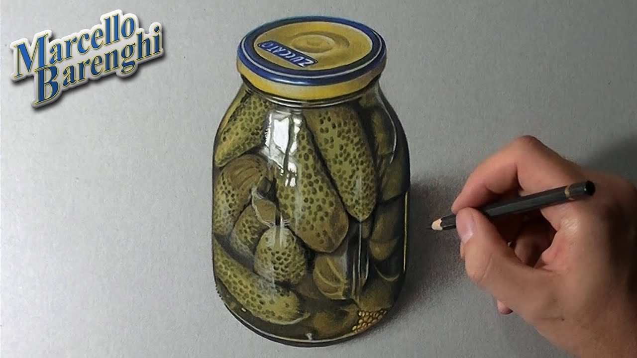 A Glass Jar Of Pickles Gherkins Realistic Drawing Youtube