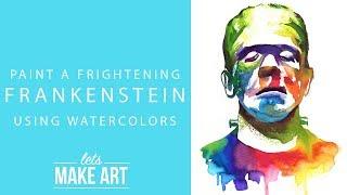Frankenstein Watercolor Paint Tutorial