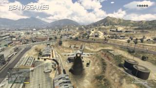 GTA V - How To Steal Fighter Jet, Fire Missiles & Survive Crashing It - 1080p