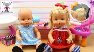 Las Bebés Nenuco HERMANITAS TRAVIESAS van a la Peluquería, al Supermercado y lavan el coche
