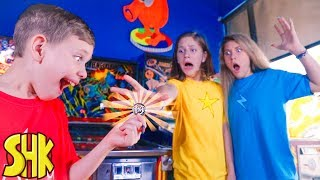 THE LAST ARCADE TOKEN Sis vs Bro Battle at the Arcade! SuperHeroKids