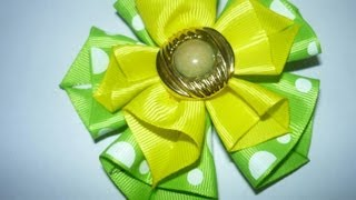 DIY HAIR ACCESSORIES  Flores dobles con cinta para el cabello,#054 Manualidadeslahormiga