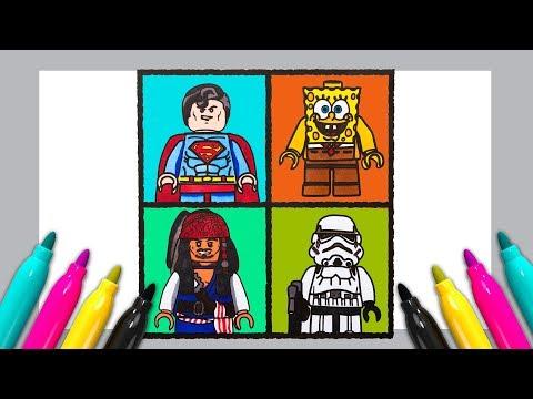 LEGO Superman Spongebob  Stormtrooper Jack Sparrow Coloring SET | Pop Art