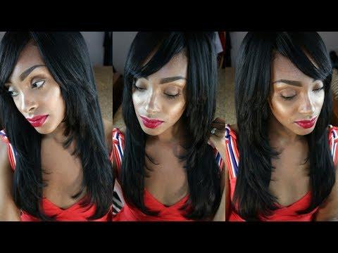 Full Wig w/ Full Bangs & Face Framing Layers Tutorial   Bobbi Boss Winner Hair Review