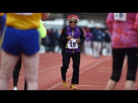 100-Year-Old Woman Sets World Track Record Then Does Push-Ups to Celebrate