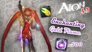 Aion 5.3 - Enchanting Gold Plume - Trying to Reach +10!