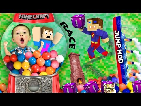 BOY TRAPPED IN GUMBALL MACHINE!  Minecraft Fantasia Lucky Block Race + Wall Jump Mod (FGTEEV Fun!)
