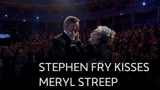 Stephen Fry kisses Meryl Streep - The British Academy Film Awards 2017 - BBC One