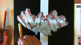 "Wildstyle graffiti speed drawing... commenté ! :D // graff sur toile (Canvas) ""PSYM"" [HD]"