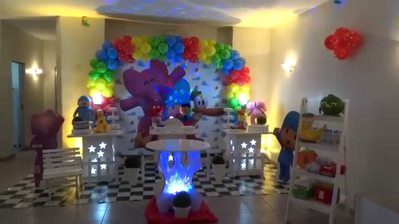Decoração Youtube ~ Decoraç u00e3o tema Pocoyo para festa de aniversário infantil YouTube