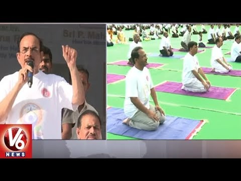 T Ministers Performs Yoga Asanas In Gachibowli Stadium | 4th International Yoga Day | V6 News
