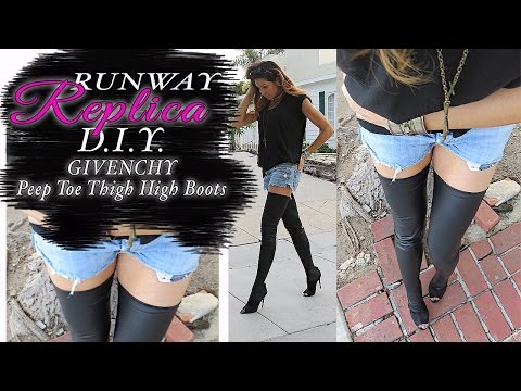 DIY CHANEL- GIVENCHY Runway Peep Toe Thigh High Boots