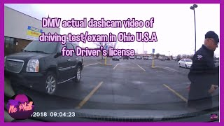 actual driving test/exam for driver's license in Ohio U.S.A