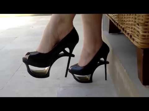 Sexy Feet In 7 Inch High Heel Keyhole Stiletto's. video