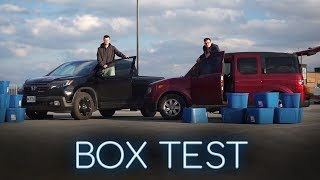 2017 Honda Ridgeline vs 2007 Honda Element BOX TEST - Who Can Fit The Most Boxes