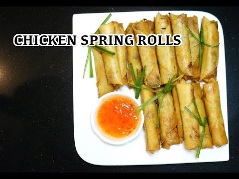 Chicken Spring Rolls - How to make Spring Rolls - Chinese Rolls
