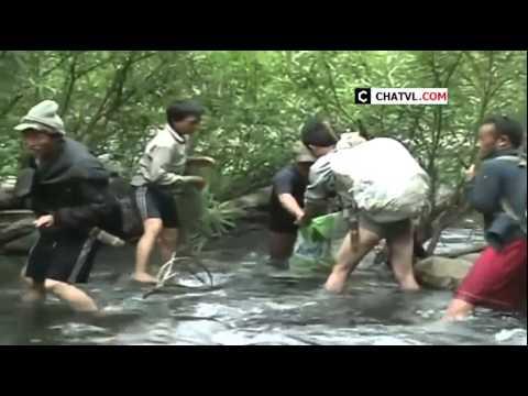 Đồng bào dân tộc bắt cá ở suối bằng kích điện