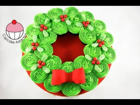 CHRISTMAS CUPCAKE CAKE! Pull-Apart Wreath Cake - A Cupcake Addiction How To Tutorial