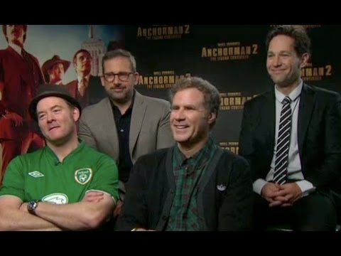 Anchorman 2: Cast Interview with Will Ferrell, Paul Rudd, Steve Carell & David Koechner
