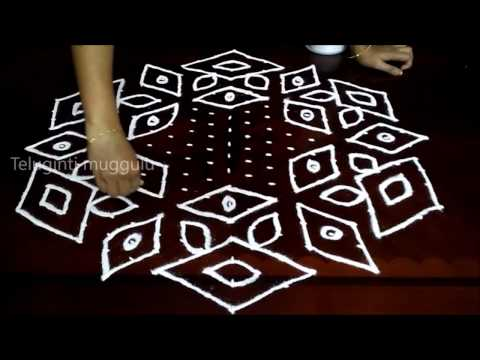 Simple flowers kolam designs with 19 - 10 middle | chukkala muggulu with dots| rangoli design