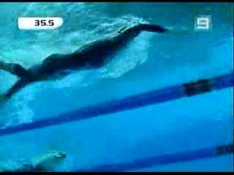 Ian Thorpe wins the 100M Freestyle at Commonwealth games trials. Race and Interview.