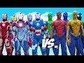 SPIDER-MAN, BLUE SPIDERMAN, GREEN SPIDERMAN, YELLOW SPIDERMAN, BLACK SPIDERMAN VS IRON MAN ARMY