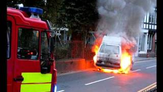 Campervan on Fire in Machynlleth