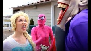 Frozen Elsa & Spiderman, Supergirl, Anna, ice cream and joker Challenges