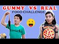 GUMMY vs REAL FOOD Challenge #Funny Eating challenge | Aayu a...
