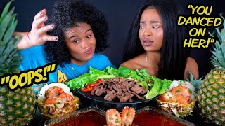"HUGE SHRIMP AND PINEAPPLE MUKBANG + ""SHE WAS DANCING ON TAE"" STORYTIME!"