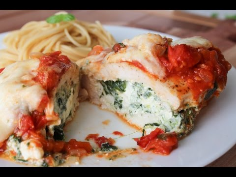 How To Make Spinach And Cheese Stuffed Chicken In A Rich Tomato Sauce - By One Kitchen Episode 240