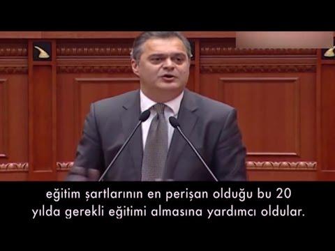 Arnavut milletvekili, Erdoğan'ın okul kapatma talebini meclis konuşmasıyla reddetti