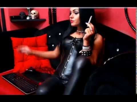 Dominatrix Smoking in Leather