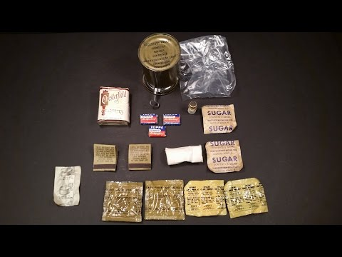 1951 Korean War RCI Oldest Cigarette Ever Smoked Accessory Can MRE Food Ration Review
