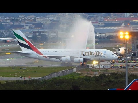 Airbus A380-800 Emirates First landing and Water salute at Guarulhos