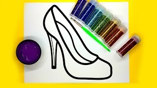💜 Coloring Rainbow High Heels with Glitter and Paint, Learn coloring for kids 💜