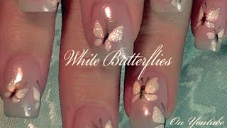 White Butterfly Nail Art | Easy Butterflies Glitter Nails Design Tutorial