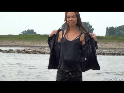 Michelle in office wear gets all wet