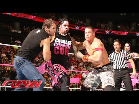 John Cena & Dean Ambrose Vs. The Usos Vs. Gold & Stardust - Triple Threat Tag Team Match video