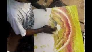 طفل شوارع يرسم لوحة فنية بيديه لن تصدق ما ستراه بعينك !!