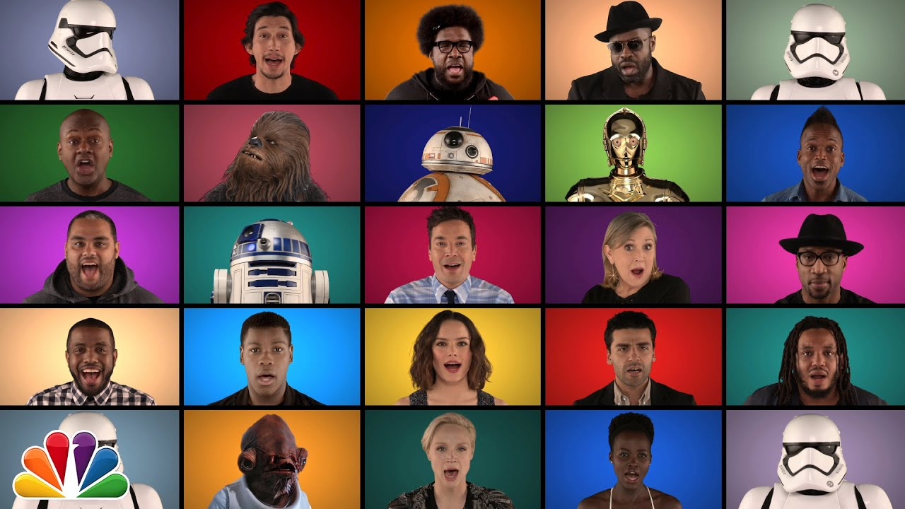 [Epic Star Wars Medley Sung By Movie Cast, Jimmy Fallon And The Roots] Video