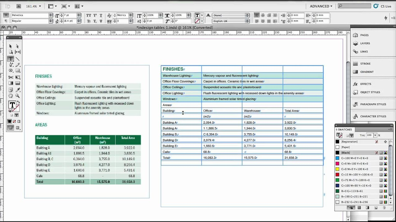 part 1 creating basic tables in indesign youtube