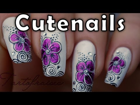 Fuchsia / purple flower & swirls nail art design