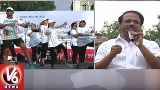 Minister Laxma Reddy Launches Cyclothon At Necklace Road   Hyderabad