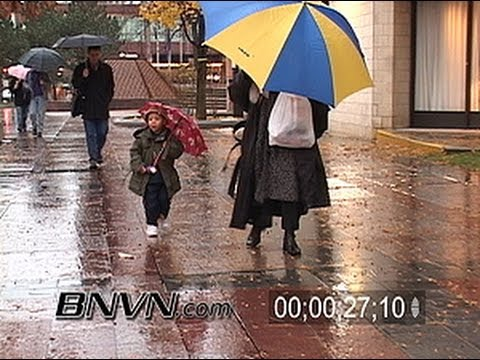 11/19/2004 People out in the cold rain video